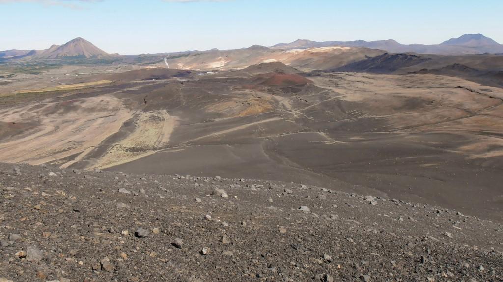 Vue sur les environs du haut du cratère Hverfjall