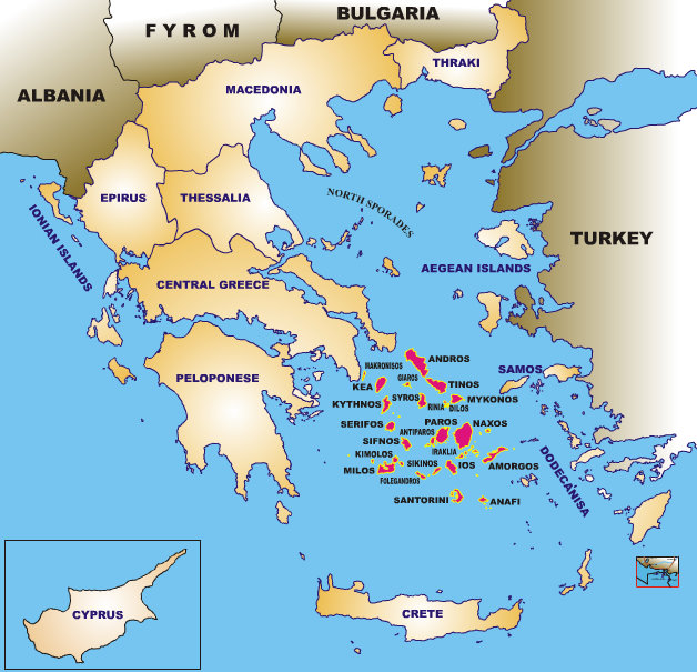 iles cyclades carte