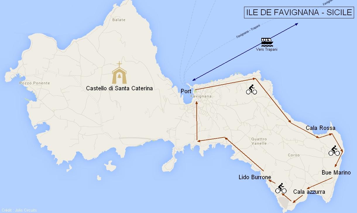 Plan ile de Favignana Sicile