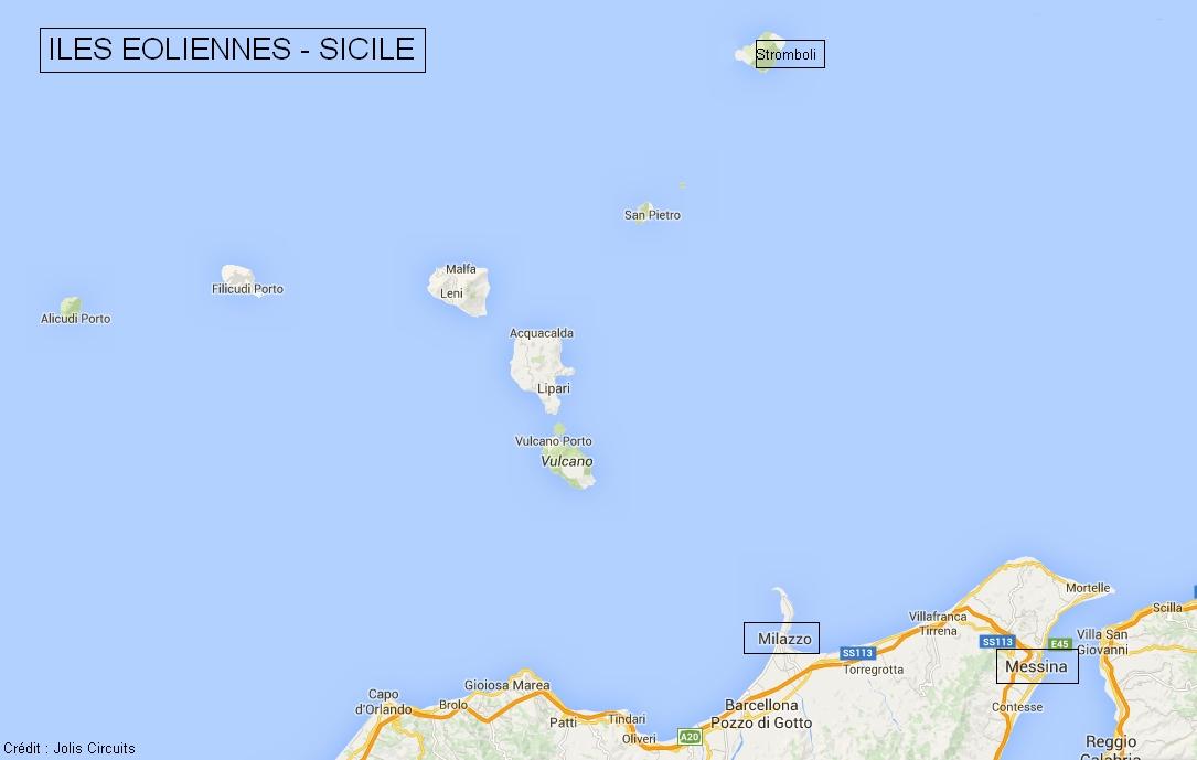 Plan îles éoliennes Sicile