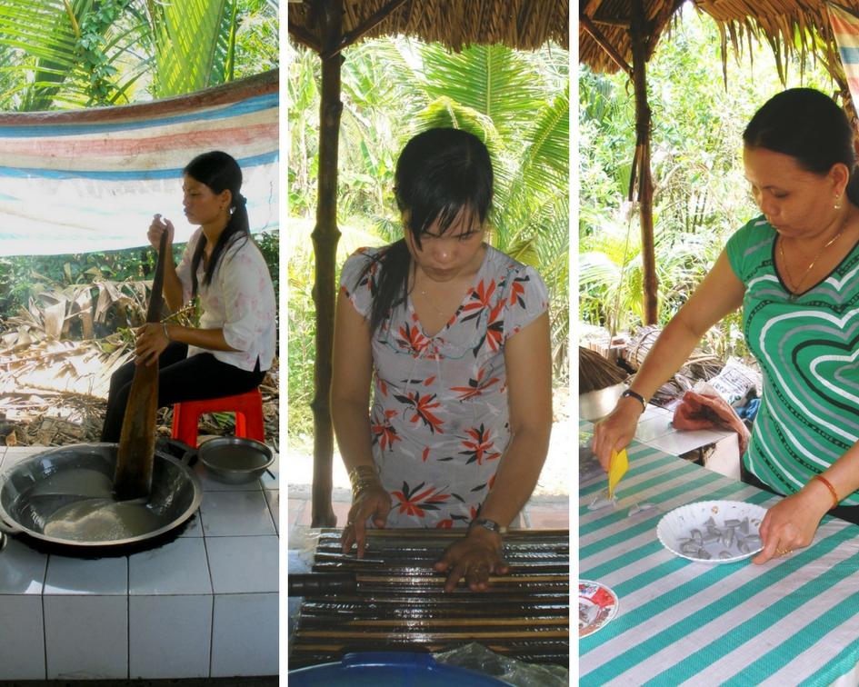 fabrication bonbon noix de coco delta du mekong vietnam
