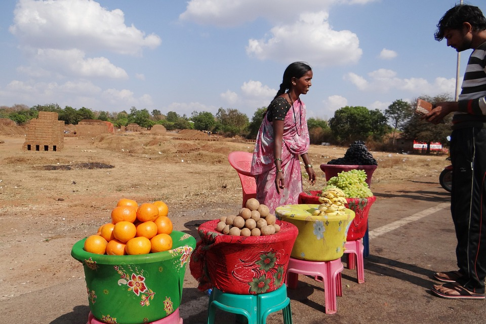 marchands de fruits en inde