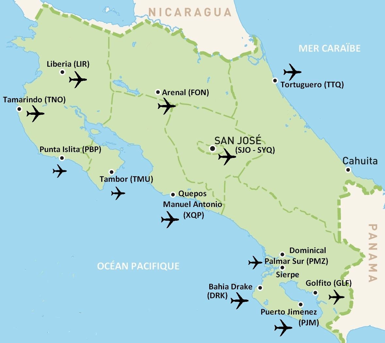 Carte Aeroports Costa Rica