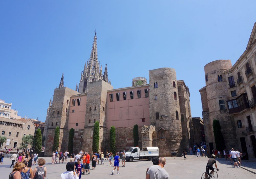 Plaça Nova, Muraille romaine, barrio gotico, Barcelone, Espagne