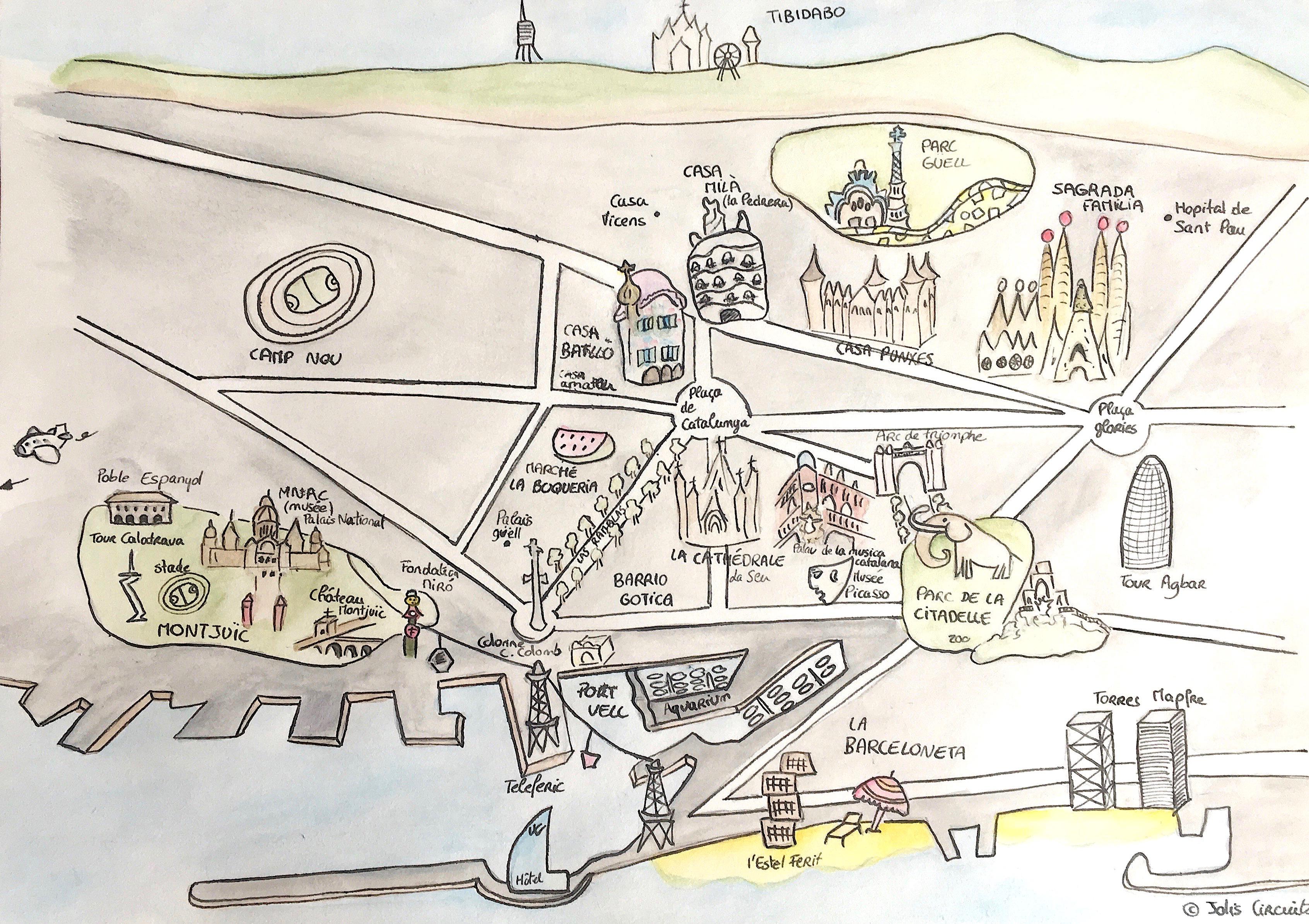 Carte De Barcelone Avec Monuments.Barcelone Jolis Circuits
