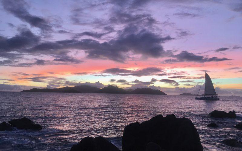 coucher de soleil, la digue, seychelles
