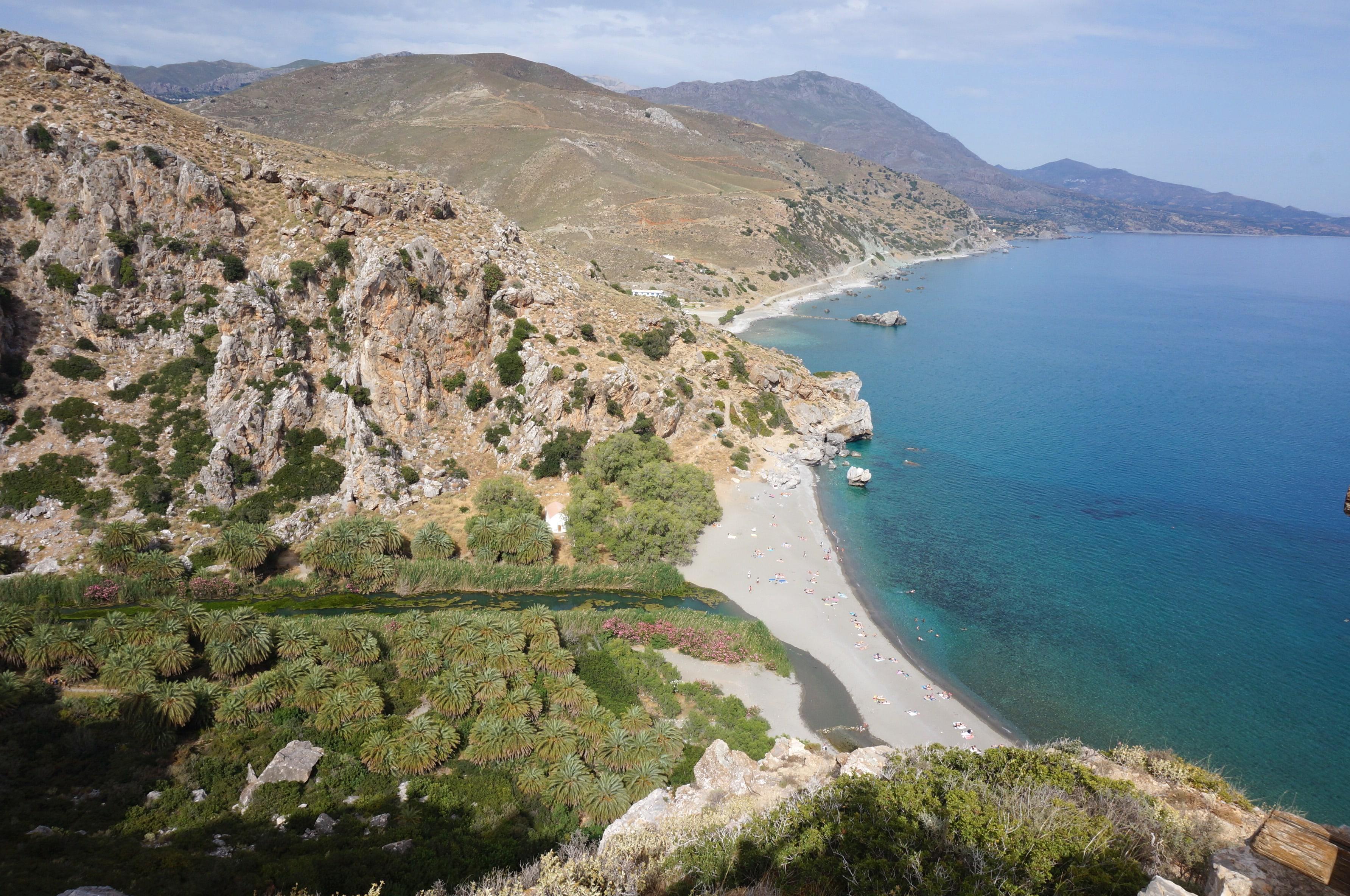 palm beach, preveli beach, crête, grece