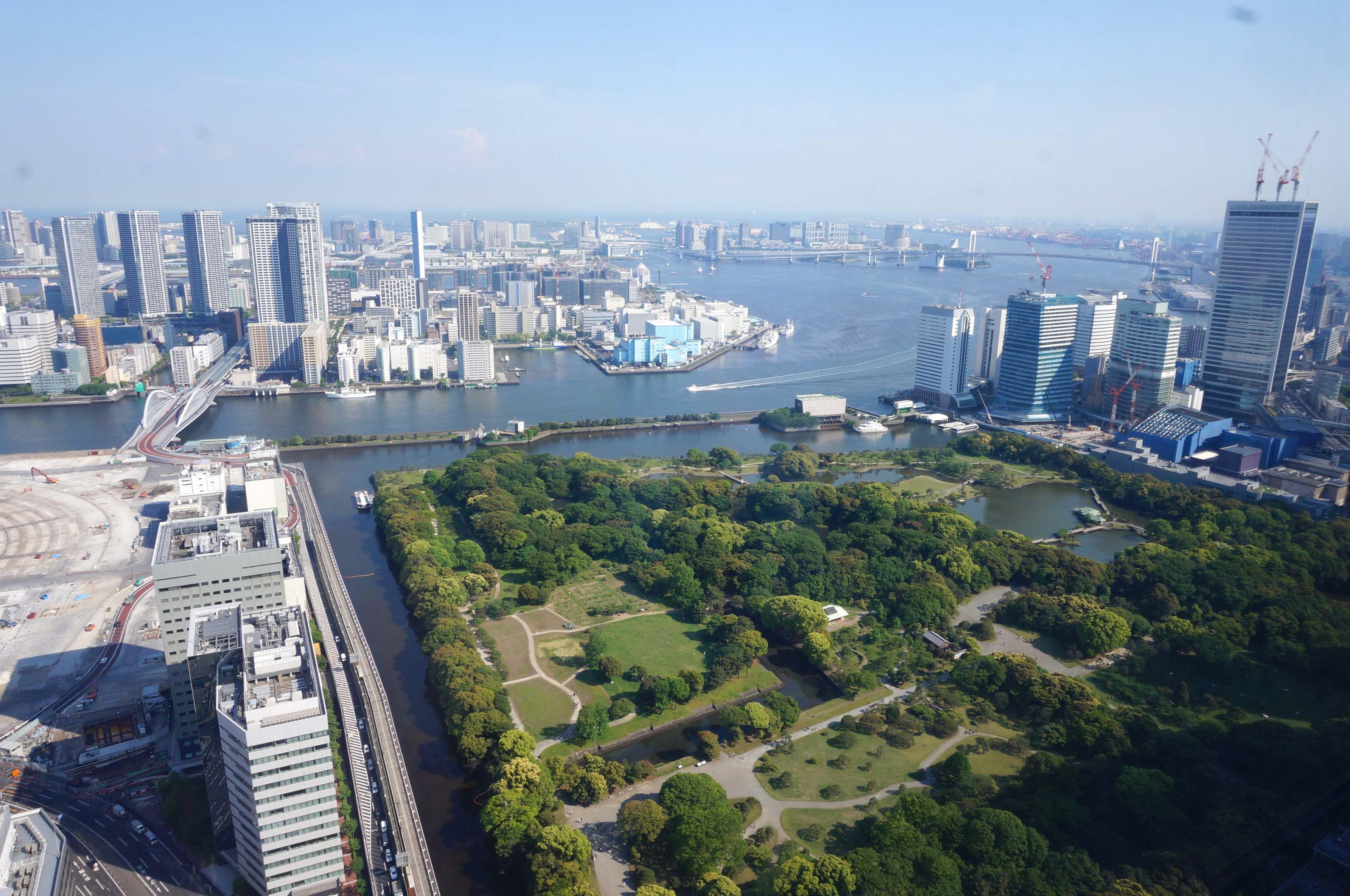 vue baie de tokyo, immeuble dentsu, japon
