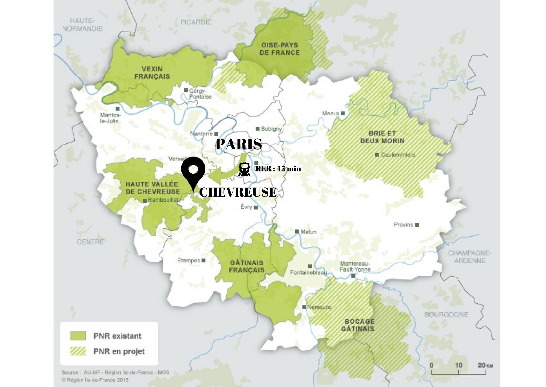 carte vallee de chevreuse depuis paris