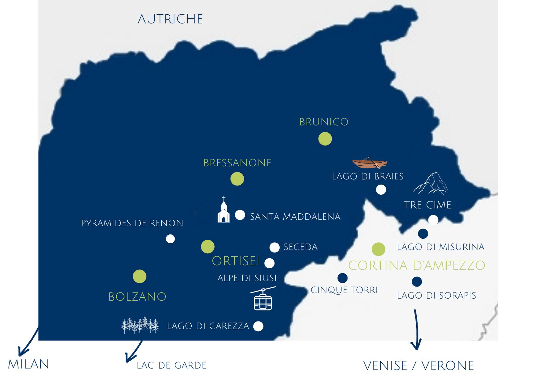 Carte dolomites, italie