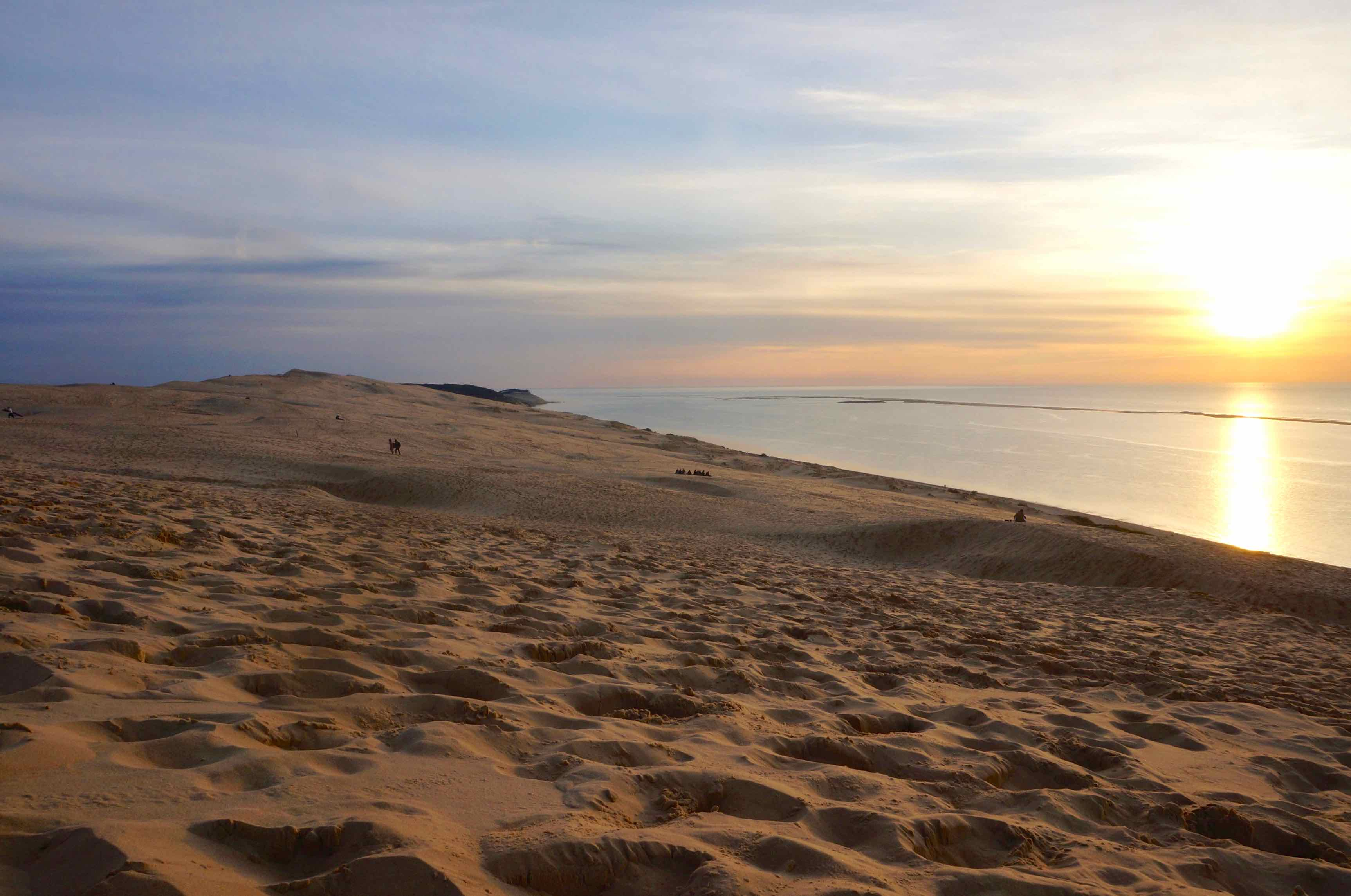 coucher de soleil sur dunes du pilat, bassin d'arcachon